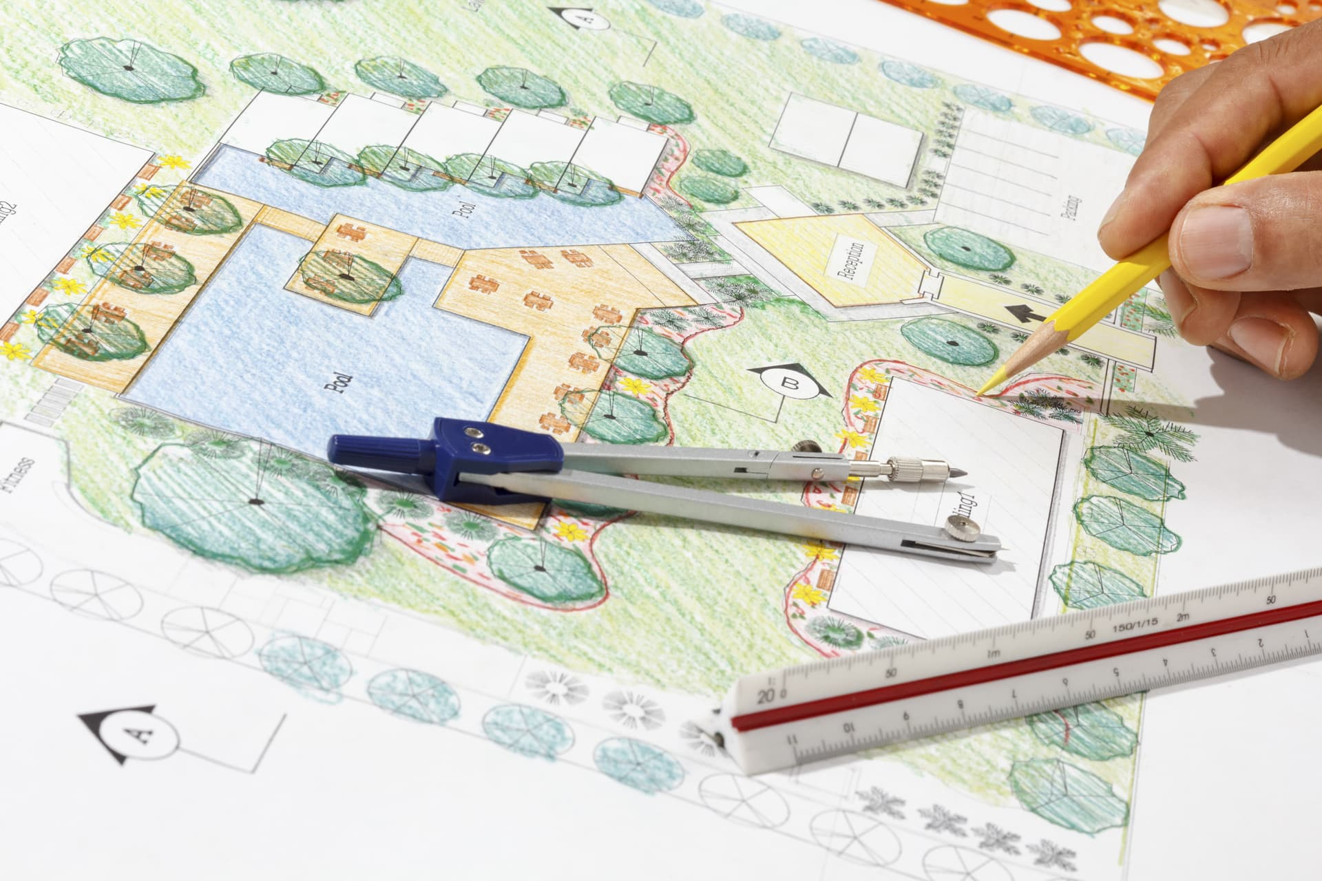 Drawing a landscape design plan