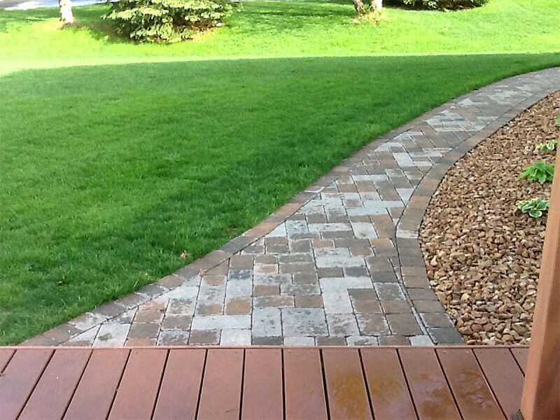 Paver path and landscaping rock garden